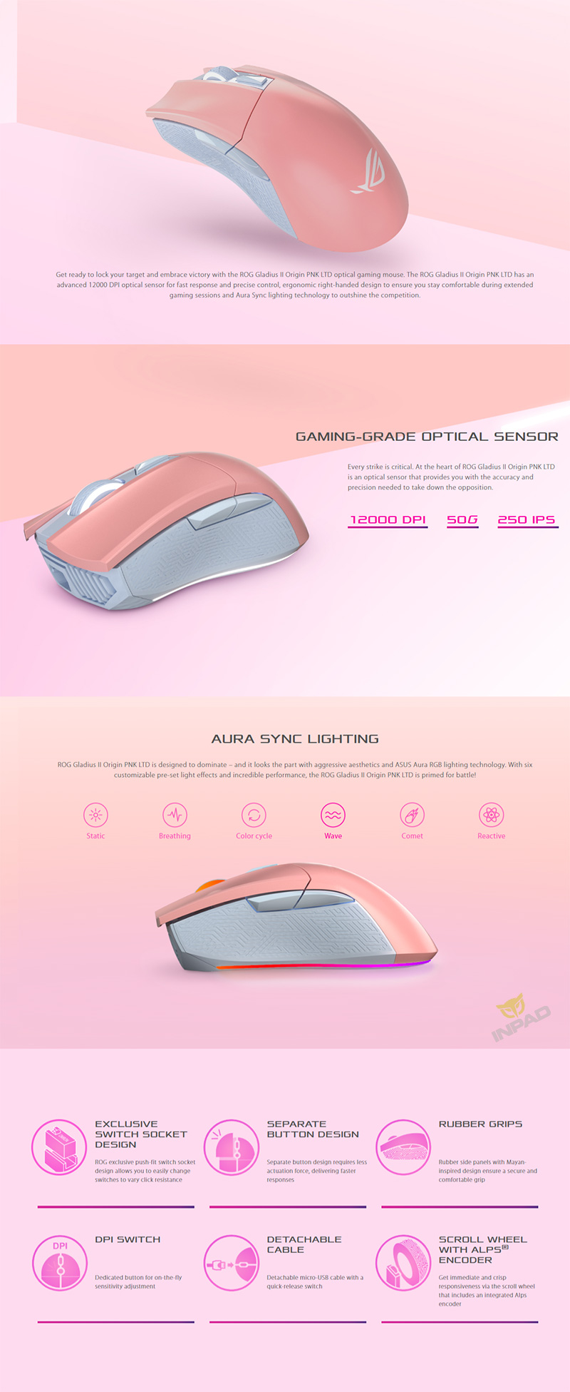 ASUS 華碩ROG GLADIUS II ORIGIN PNK神鬼戰士RGB光學滑鼠粉紅色_有線滑鼠_☆電競滑鼠_滑鼠|鼠墊|滑鼠周邊|